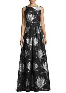 Floral-Brocade Lace-Inset Sleeveless Dress   Floral-Brocade Lace-Inset Sleeveless Dress