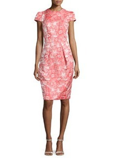 Floral Jacquard Sheath Dress, Coral   Floral Jacquard Sheath Dress, Coral