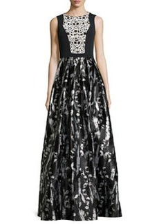 Floral-Print Sleeveless Gown, Black/White   Floral-Print Sleeveless Gown, Black/White
