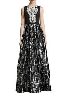 Floral-Print Sleeveless Gown, Black/White   Floral-Print Sleeveless Gown, Black/White