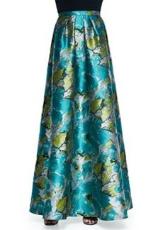Floral Printed Charmeuse Ball Skirt   Floral Printed Charmeuse Ball Skirt