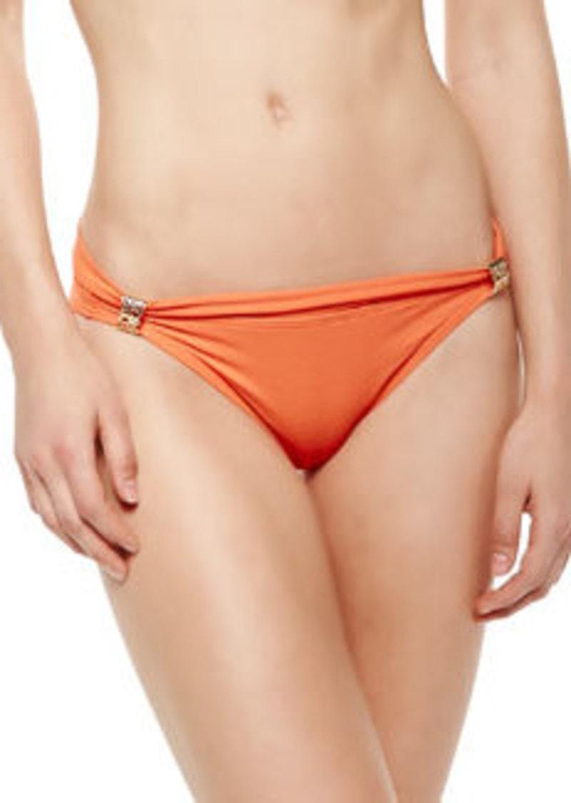 Folded Metal-Detail Bikini Bottom   Folded Metal-Detail Bikini Bottom