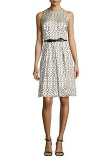 Geo-Jacquard Sleeveless Dress   Geo-Jacquard Sleeveless Dress