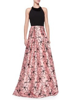 Halter-Neck Gown with Floral Skirt   Halter-Neck Gown with Floral Skirt