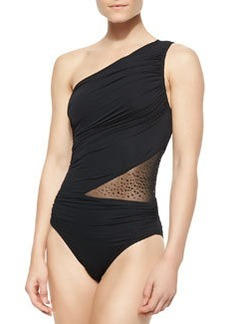 Illusion One-Shoulder One-Piece Swimsuit   Illusion One-Shoulder One-Piece Swimsuit