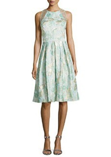Jacquard Full-Skirt Cocktail Dress   Jacquard Full-Skirt Cocktail Dress