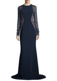 Lace-Sleeve Crepe Gown, Midnight/Nude   Lace-Sleeve Crepe Gown, Midnight/Nude