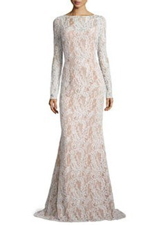 Long-Sleeve Bateau-Neck Lace Gown, Ivory/Nude   Long-Sleeve Bateau-Neck Lace Gown, Ivory/Nude