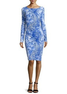 Long-Sleeve Ruched Leopard-Print Dress   Long-Sleeve Ruched Leopard-Print Dress