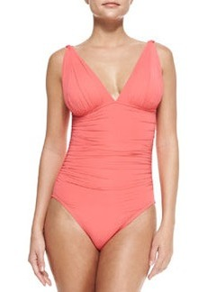 Mediterranean Solids Ruched Maillot Swimsuit, Coral   Mediterranean Solids Ruched Maillot Swimsuit, Coral