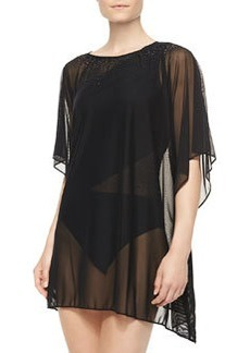 Mesh Boat-Neck Cover-Up Tunic   Mesh Boat-Neck Cover-Up Tunic