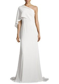 One-Shoulder Cape Gown, Ivory   One-Shoulder Cape Gown, Ivory