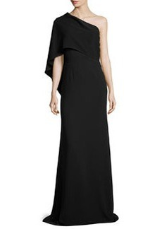 Carmen Marc Valvo One-Shoulder Cape Gown
