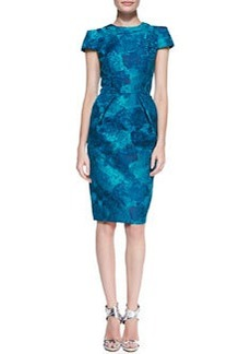 Short-Sleeve Floral Jacquard Sheath Dress   Short-Sleeve Floral Jacquard Sheath Dress