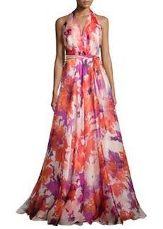 Silk Floral-Print Halter Gown, Tomato   Silk Floral-Print Halter Gown, Tomato