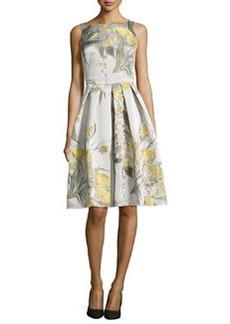 Sleeveless Cocktail Dress in Floral Jacquard   Sleeveless Cocktail Dress in Floral Jacquard