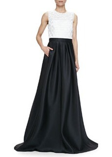 Sleeveless Combo Ball Gown, Ivory Black   Sleeveless Combo Ball Gown, Ivory Black