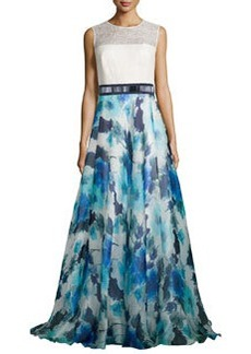 Carmen Marc Valvo Sleeveless Combo Dress w/ Floral Skirt, Ivory/Ocean