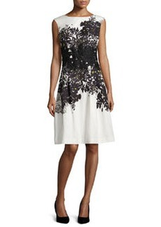 Carmen Marc Valvo Sleeveless Embroidered Floral-Print Dress
