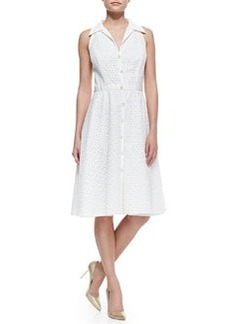 Sleeveless Eyelet Button-Front Cocktail Shirtdress   Sleeveless Eyelet Button-Front Cocktail Shirtdress