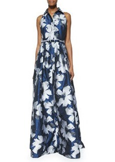 Sleeveless Floral Belted Gown   Sleeveless Floral Belted Gown
