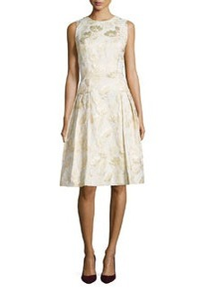 Sleeveless Floral Jacquard Cocktail Dress   Sleeveless Floral Jacquard Cocktail Dress