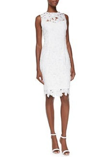 Sleeveless Floral Lace Sheath Dress, Ivory   Sleeveless Floral Lace Sheath Dress, Ivory