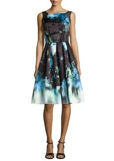 Sleeveless Floral-Print Pleated Dress   Sleeveless Floral-Print Pleated Dress