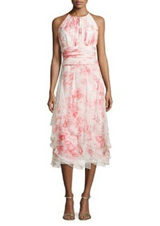Sleeveless Floral-Print Tiered Cocktail Dress   Sleeveless Floral-Print Tiered Cocktail Dress