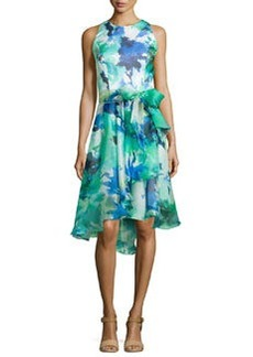 Sleeveless Floral Printed Cocktail Dress   Sleeveless Floral Printed Cocktail Dress