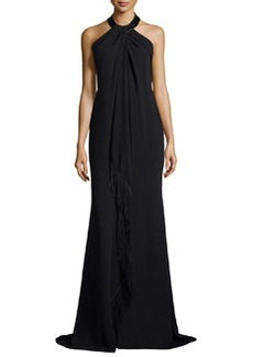 Carmen Marc Valvo Sleeveless Halter Beaded Toga Gown W/ Fringe