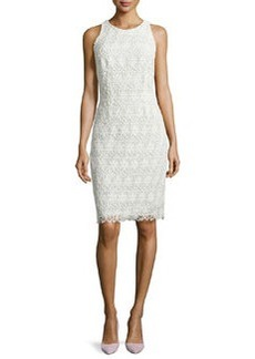 Carmen Marc Valvo Sleeveless Lace Sheath Dress, Ivory/White