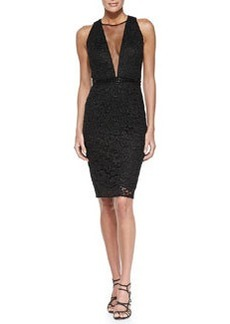 Sleeveless Mesh-Inset Sequined Cocktail Dress   Sleeveless Mesh-Inset Sequined Cocktail Dress