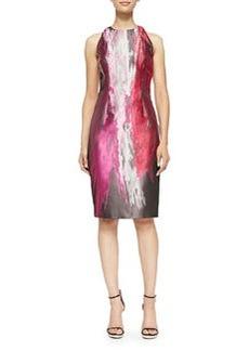 Sleeveless Paintbrush-Print Cocktail Dress   Sleeveless Paintbrush-Print Cocktail Dress
