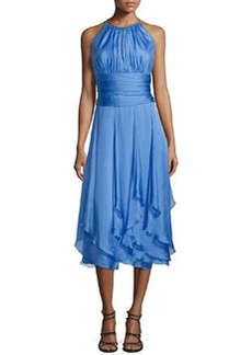 Sleeveless Ruched-Bodice Halter Dress   Sleeveless Ruched-Bodice Halter Dress
