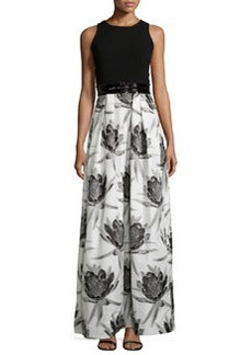 Sleeveless Solid-Top Floral-Skirt Combo Gown   Sleeveless Solid-Top Floral-Skirt Combo Gown