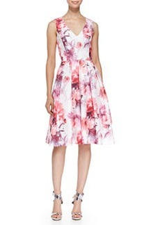 Sleeveless V-Neck Floral Cocktail Dress, Ivory/Coral   Sleeveless V-Neck Floral Cocktail Dress, Ivory/Coral