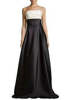 Strapless Colorblock Charmeuse Ball Gown   Strapless Colorblock Charmeuse Ball Gown