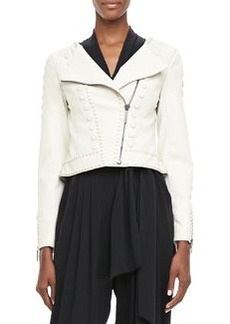 Cadi Cropped Leather Jacket   Cadi Cropped Leather Jacket