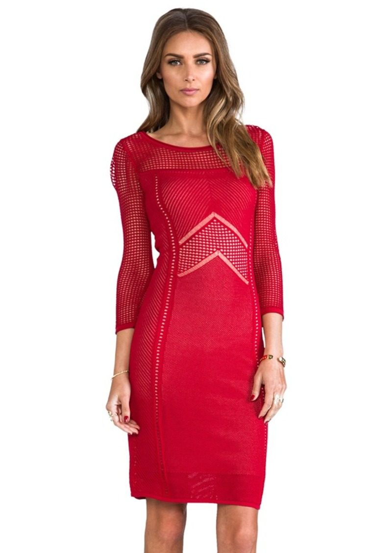 Catherine Malandrino Brooke Pointelle Dress in Red