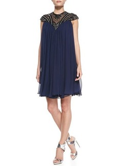 Catherine Malandrino Cap-Sleeve Beaded Yoke Cocktail Shift Dress