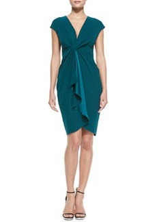 Catherine Malandrino Cap-Sleeve Draped-Front Cocktail Dress