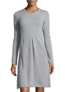 Catherine Malandrino Cashmere Long-Sleeve Crew-Neck Dress, Heather Gray