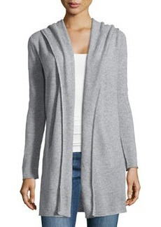 Catherine Malandrino Cashmere Long-Sleeve Hooded Cardigan, Heather Gray
