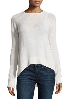 Catherine Malandrino Cashmere Long-Sleeve Raglan Sweater, Winter White