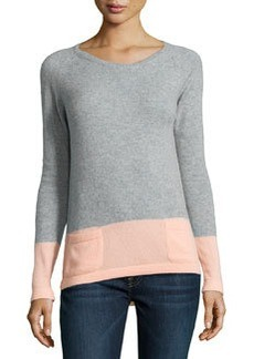 Catherine Malandrino Cashmere Two-Tone Sweater, Heather Gray/Blush