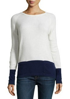 Catherine Malandrino Cashmere Two-Tone Sweater, Winter White/Navy
