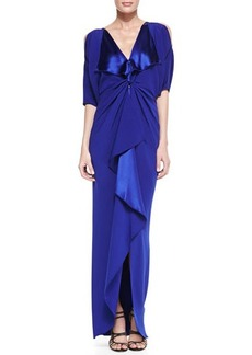 Catherine Malandrino Cold-Shoulder V-Neck Silk Gown