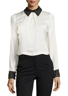 Catherine Malandrino Contrast-Trim Back-Snap Top, Ivory/Noir