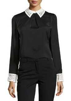 Catherine Malandrino Contrast-Trim Back-Snap Top, Noir/Ivory